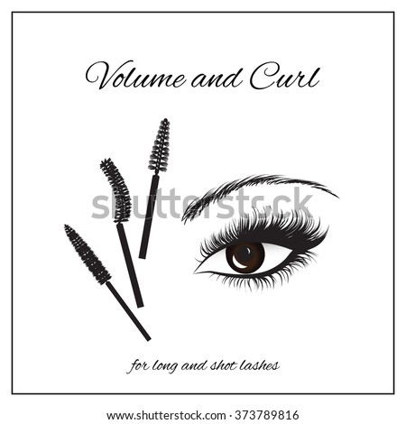 types of mascara brushes and makeup classification - stock vector