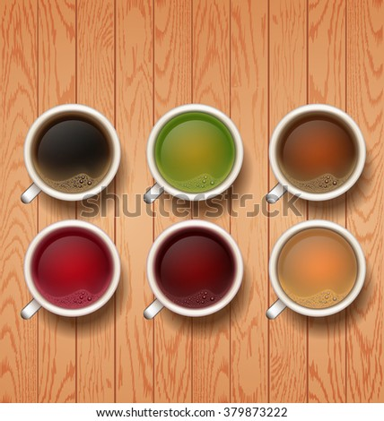 types of tea. tea cups on vector background. cup of red, black, white,  green tea, hibiscus - stock vector