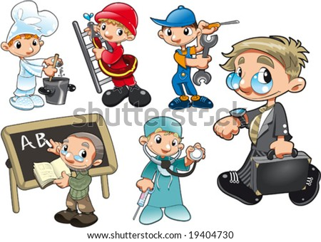 Types of Workers. Funny cartoon and vector isolated characters - stock vector