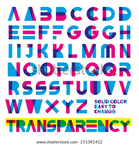 typeset in primary colors transparency. solid colors easy to change. - stock vector