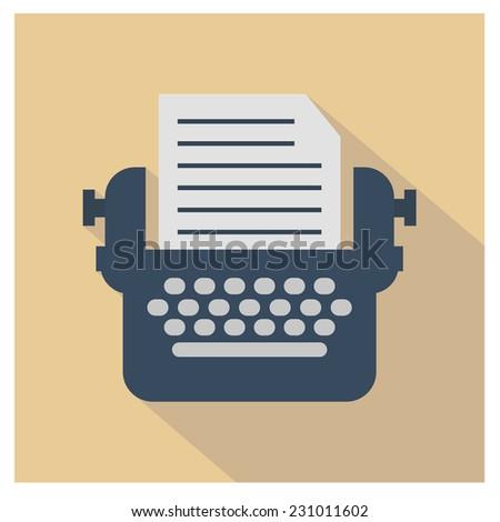 Typewriter icon - stock vector
