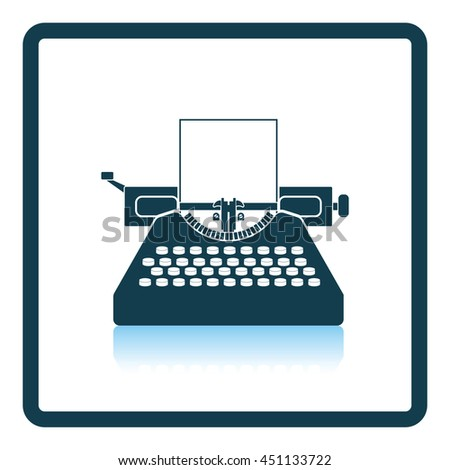 Typewriter icon. Shadow reflection design. Vector illustration.