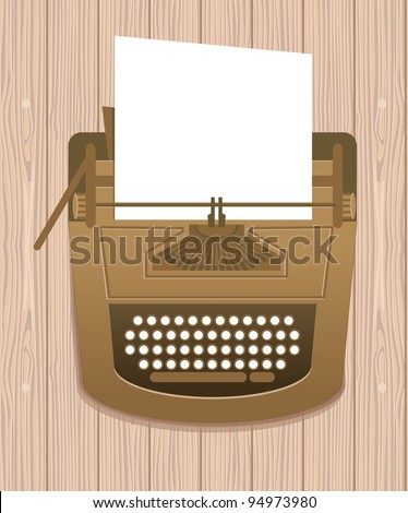 typewriter in retro style - vector card - stock vector