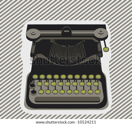 typewriter- object - Vector - stock vector