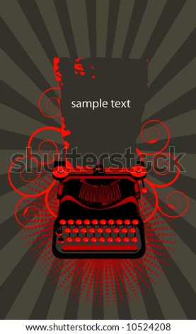 typewriter.Vector  - brown and red - stock vector