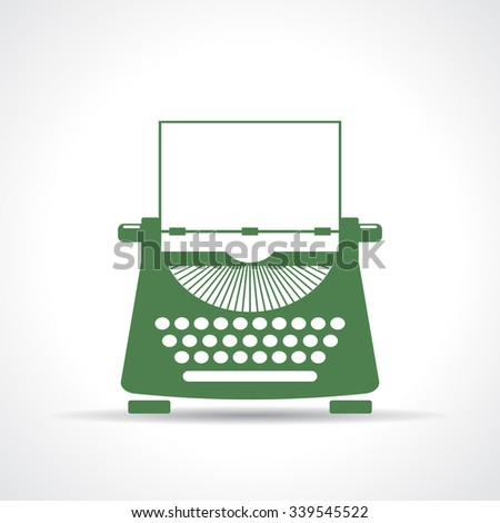 Typewriter vector icon isolated on white background - stock vector