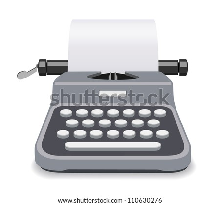 Typewriter vector isolated - stock vector