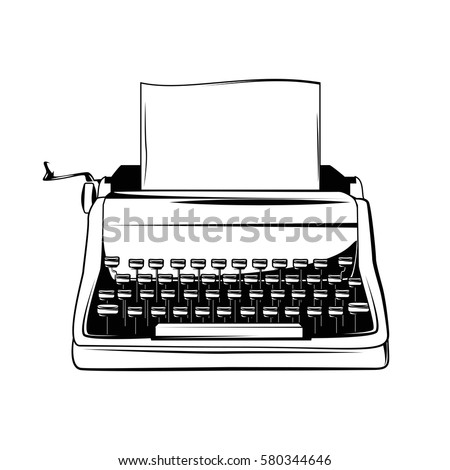 Typewriter Vintage hand drawn illustration. Great for apparel design, home, poster, etc