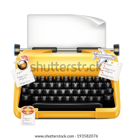 Typewriter With Stickers - stock vector