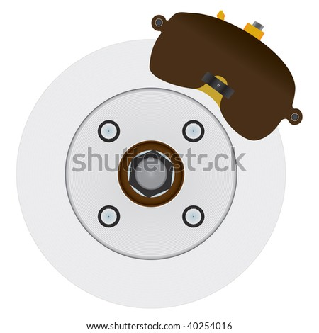 Typical automotive disc brake including rotor, caliper, and several miscellaneous parts. Similar to a common US based front wheel drive design, but not patterned after any specific real system. - stock vector