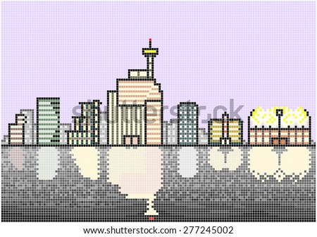 Typical City Skyline at Night - An illustration of an illuminated skyline of a typical modern city situated next to a waterfront. Square pixels of various colors have been used. - stock vector