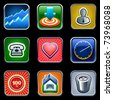 Typical mobile phone apps and services icons. - stock vector