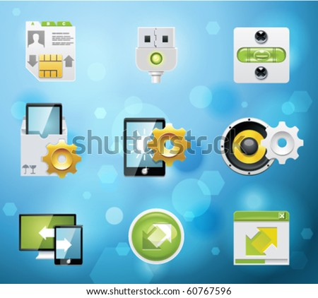Typical mobile phone apps and services icons. EPS 10 version. Part 7 of 10 - stock vector