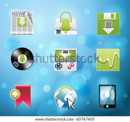 Typical mobile phone apps and services icons. EPS 10 version. Part 4 of 10 - stock vector