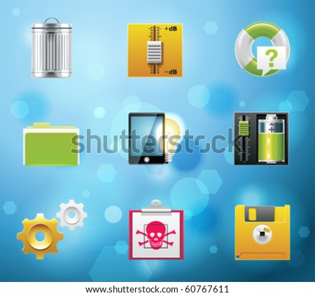 Typical mobile phone apps and services icons. EPS 10 version. Part 9 of 10 - stock vector