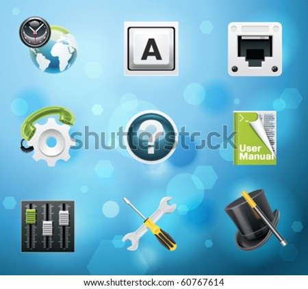 Typical mobile phone apps and services icons. EPS 10 version. Part 8 of 10 - stock vector