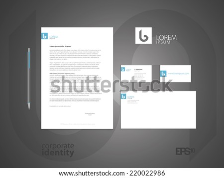Typographic b logo. Elegant minimal style corporate identity template. Letter envelope and business card design. Vector illustration. - stock vector