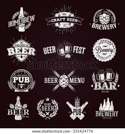 Typographic beer labels and logos drawn with chalk - stock vector