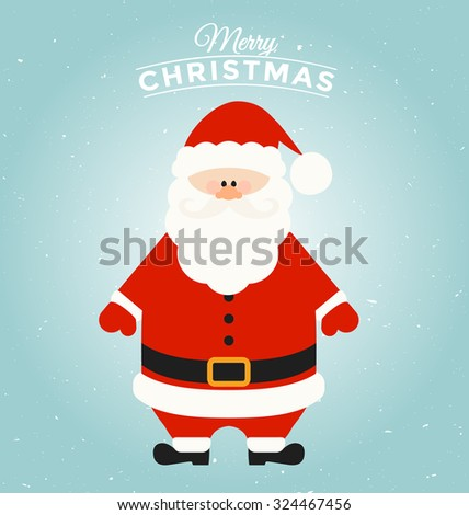 Typographic Christmas Greeting Card Template with Santa Claus Character - Merry Christmas - stock vector