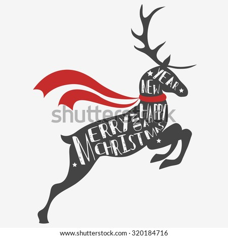 Typographic Christmas greeting card with reindeer. Merry christmas and a happy new year. . Hand draw Vintage Typography design  - stock vector