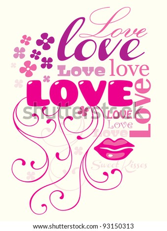 Typographic composition with the word LOVE