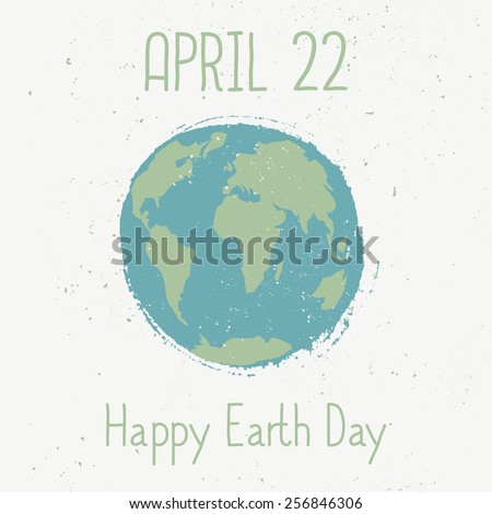 Typographic design card for Earth Day. - stock vector