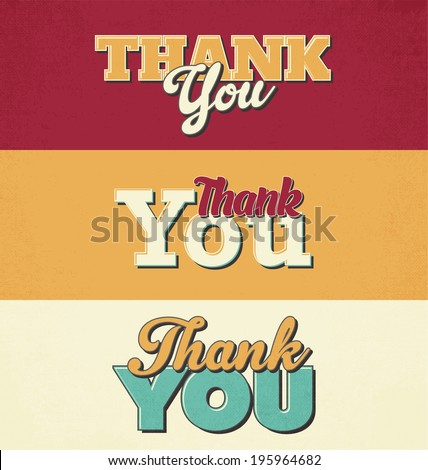 Typographic Design Set - Thank You - stock vector