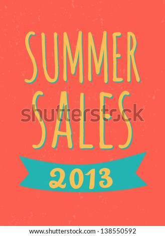 Typographic design summer sales poster. - stock vector