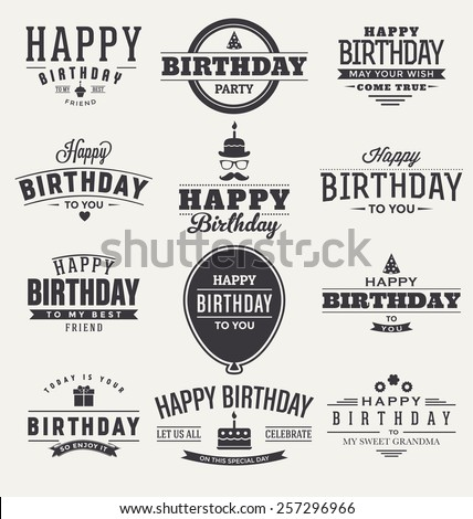 Typographic Happy Birthday Themed Label Design Set - stock vector