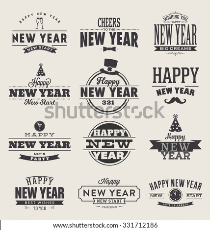 Typographic Happy New Year  2016 Design Set - Trendy Vintage Style Collection - stock vector