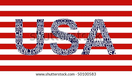 Typographic illustration with text USA - stock vector