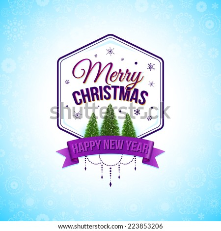 Typographic label for winter holidays. Vector illustration. - stock vector