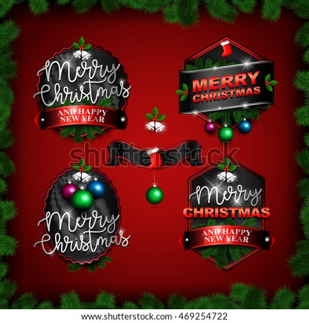 Typographic Label, Sticker, Badge for Merry Christmas and Happy New Year. Vintage Style on Red Background. Vector illustration EPS10.