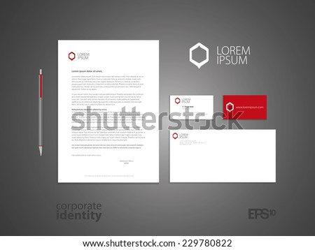 Typographic m symbol. Elegant minimal style corporate identity template. Letter envelope and business card design. Vector illustration. - stock vector