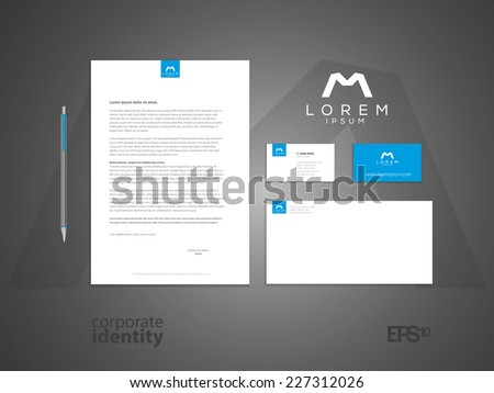 Typographic m symbol. Elegant minimal style corporate identity template with logo. Letter envelope and business card design. Vector illustration. - stock vector