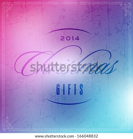 Typographic New year and Christmas holiday sale label elements, frames, vintage labels and borders on blur glass background - stock vector