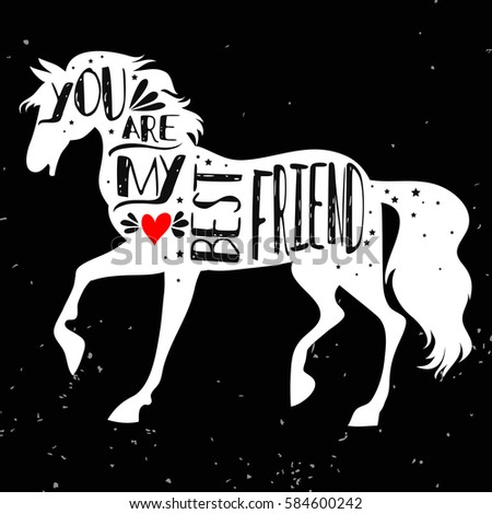 Typographic Poster Horse Silhouette Phrase You Stock Vector ...
