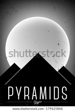 Typographic Pyramid City Poster Design - stock vector