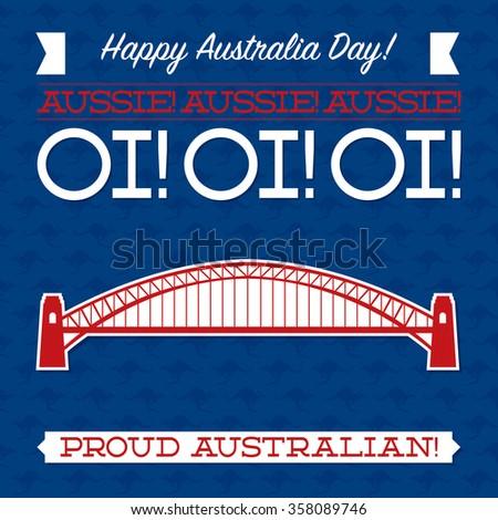 Typographic retro Australia Day card in vector format. - stock vector