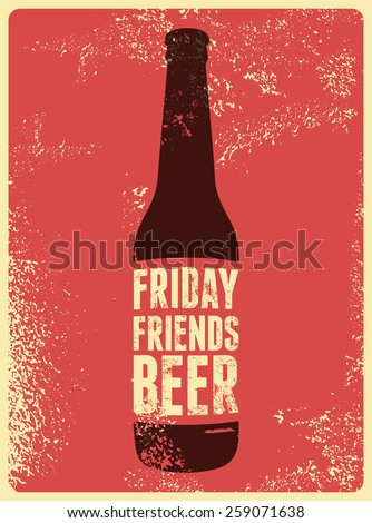 Typographic Retro Grunge Beer Poster Vector Illustration