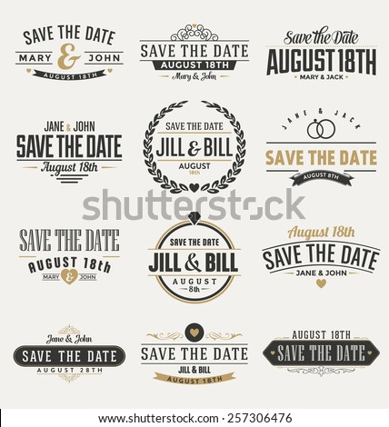 Typographic Save The Date Themed Label Design Set - stock vector