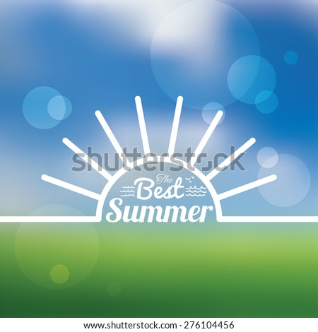 Typographic summer holiday label on blur glass background - stock vector