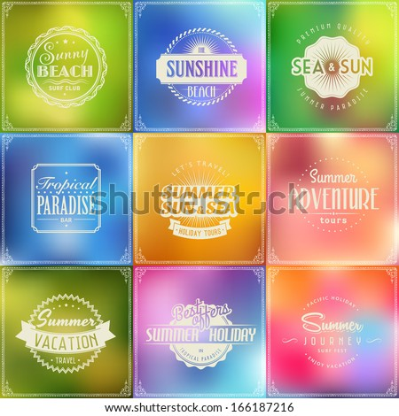 Typographic summer holiday travel label elements, frames, vintage labels and borders on blur glass background - stock vector