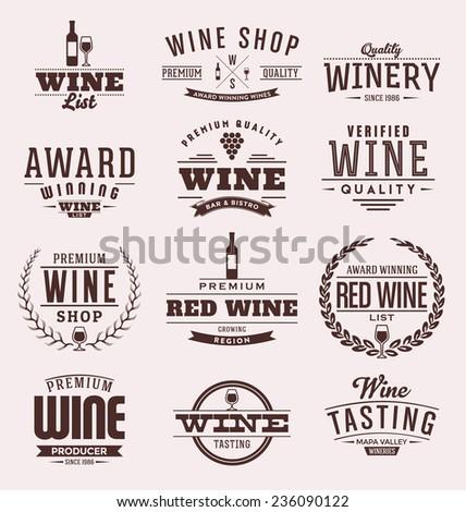 Typographic Wine Label Design Set - Vintage Style Emblems - stock vector