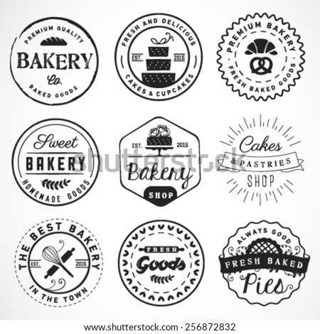 Typographical Bakery Labels, Badges and Design Elements in Vintage Style - stock vector