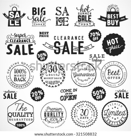 Typographical Sale Illustrations and Premium Quality Badges - stock vector