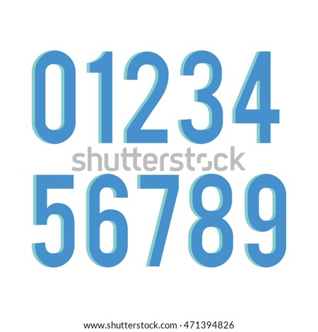 Typographical set of numbers, Vector illustration
