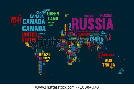 Typography color world map made every vectores en stock 710884078 typography color world map made of every country name concept text atlas design with continent gumiabroncs Choice Image