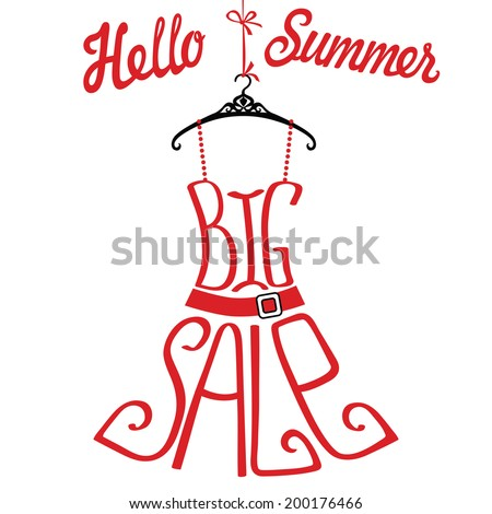 "Typography dress Design.Silhouette of sundress from words with percent sign and number on black background .The message ""Big sale"" and ""Hello Summer"".Fashion illustration in vector. - stock vector"