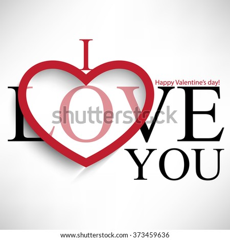 typography i love you valentine's day message - stock vector